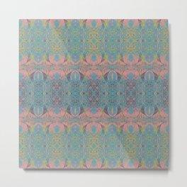 Angel Wings Pattern - Neon Black Currant, Hippie Blue & Lime Pattern on Pink by artestreestudio Metal Print