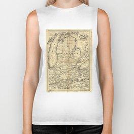 Vintage Michigan, Ohio and Indiana Railroad Map Biker Tank