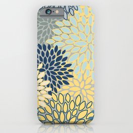 Modern, Abstract, Flower Garden, Blue, Yellow, Gray iPhone Case