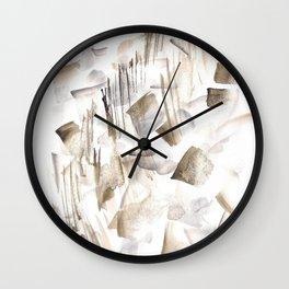 180630 Grey Black Brown Abstract Watercolour 2 Wall Clock