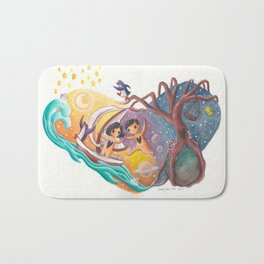 Boy and Girl in Love Sail Off Into the Sky on Adventure Bath Mat