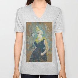 """Henri de Toulouse-Lautrec """"La Clownesse Cha-U-Kao"""" Unisex V-Neck"""