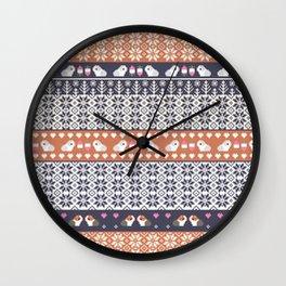 Fair Isle Christmas Guinea pig Pattern Wall Clock