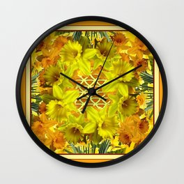 VIGNETTE OF YELLOW SPRING DAFFODILS GARDEN Wall Clock