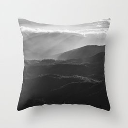 Sunrise in North Georgia Mountains BW #blackwhite Throw Pillow