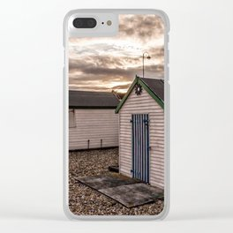 Beach Huts At Sunset Clear iPhone Case