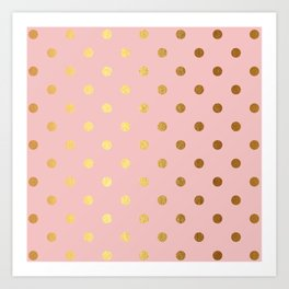Gold polka dots on rose gold background - Luxury pink pattern Art Print