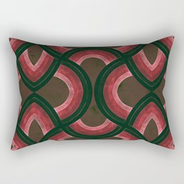 Vintage Groovy Rainbow Design In Black Red and Pink Rectangular Pillow