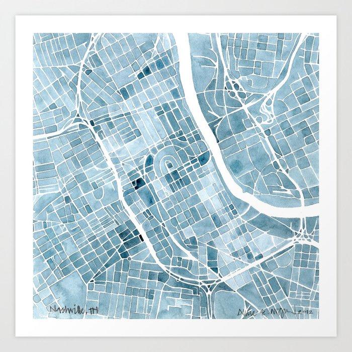 Map nashville tennessee blueprint city map art print by aemcdraw map nashville tennessee blueprint city map art print malvernweather Image collections