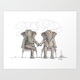 Loving Elephants Sitting Art Print