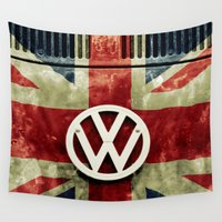 vw bus Wall Tapestries featuring VW Retro Union Jack by Alice Gosling