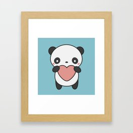 Kawaii Cute Panda With A Heart Framed Art Print