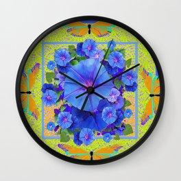 BluE Morning Glories Golden Butterflies Abstract Pattern Wall Clock