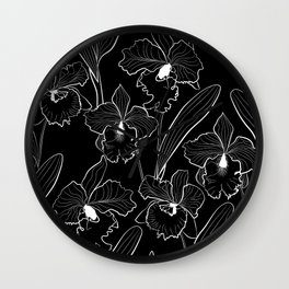 White black Orchid 2 Wall Clock