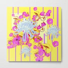 Modern Yellow Art White Spider Mums Pink Flowers Garden Art Metal Print