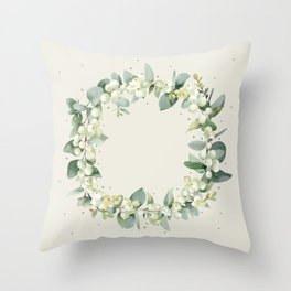 Cream Snowberry and Eucalyptus Christmas Wreath / Border Throw Pillow