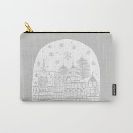 Linocut White Holidays Carry-All Pouch