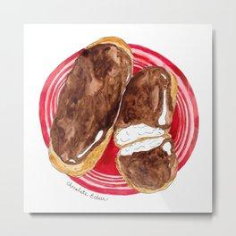 Chocolate and Vanilla Eclair Watercolor Print Metal Print