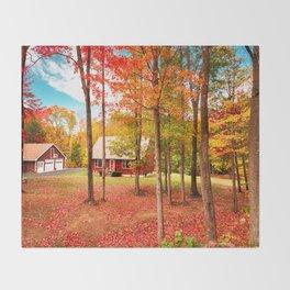 new england cottage Throw Blanket