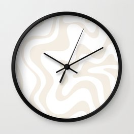 Liquid Swirl Abstract Pattern in Pale Beige and White Wall Clock