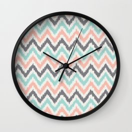 Mint Gray Coral Zigzag Pattern Wall Clock