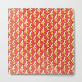 Peeled Bananas on Pink Metal Print