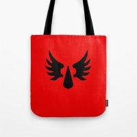 warhammer Tote Bags featuring Warhammer 40k Blood Angels Minimalist Poster by Milos Cakovan