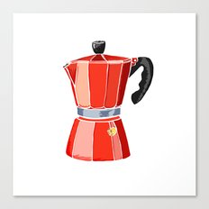 Red Italian Stove-Top Cafetiere Canvas Print