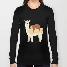 Cute Llama with a Sleeping Sloth Gift Long Sleeve T-shirt