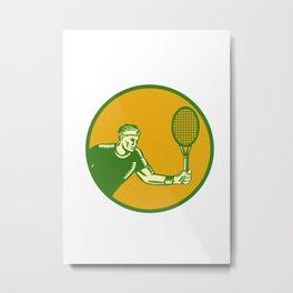 Tennis Player Forehand Circle Woodcut Metal Print