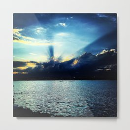 Sunset Lake Geneva Switzerland Metal Print