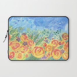 Flower Fields. Watercolor Garden. Sandy Thomson Laptop Sleeve