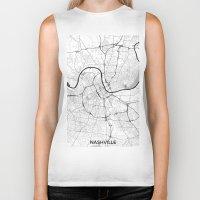 nashville Biker Tanks featuring Nashville Map Gray by City Art Posters