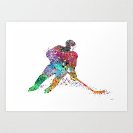 Girl Ice Hockey Sports Art Print Art Print