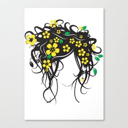 vector digital painting woman and flowers Canvas Print