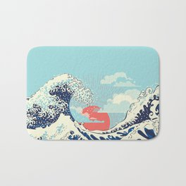 The Great Wave off Kanagawa stormy ocean with big waves Bath Mat