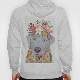 Silver Labrador with Flowers Hoody