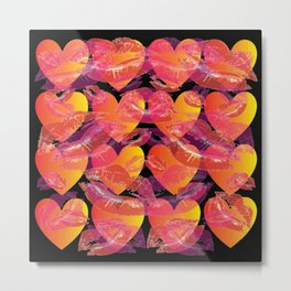 Red Ombre Heart Love and Pink Kisses Layered Pattern Metal Print