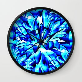 Painterly Ocean Blue Floral Abstract Wall Clock