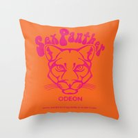 will ferrell Throw Pillows featuring ANCHORMAN - Sex Panther  by John Medbury (LAZY J Studios)