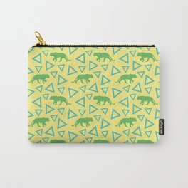 Wild African walking green female lion silhouettes and abstract triangle shapes. Stylish classy warm sunny pastel yellow seamless retro vintage geometric animal nature pattern. Carry-All Pouch