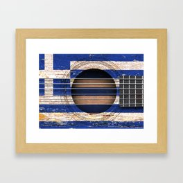Old Vintage Acoustic Guitar with Greek Flag Framed Art Print