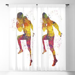 American Football player 12 in watercolor Blackout Curtain