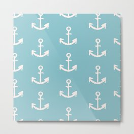 Anchors - Blue Metal Print
