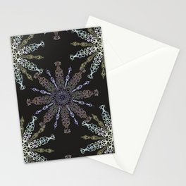 Openwork snowflakes on dark. Stationery Cards