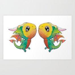 Parrot Dragons Art Print