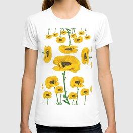 YELLOW POPPIES FLOWER ON WHITE T-shirt