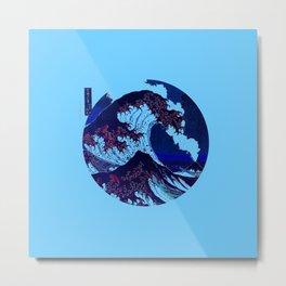 Great Wave Off Kanagawa Volcano Metal Print