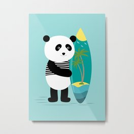 Surf along with the panda. Metal Print