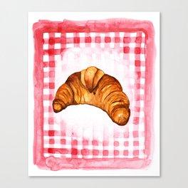 Croissant Kitchen Art, French Kitchen Decor Canvas Print